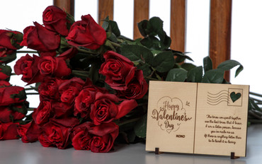 Laser Engraved Wooden Card Message (Valentine's Day Gift)