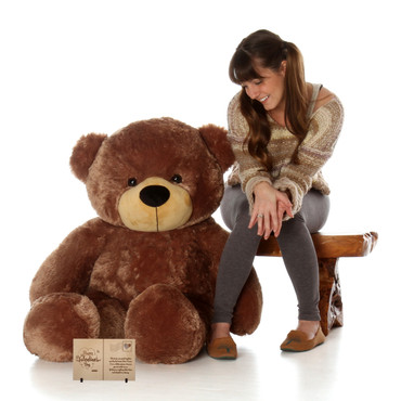 4 Foot Mocha Brown Huge Teddy Bear with Personalized Wooden Card Message