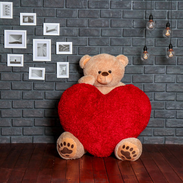 Giant 6 Foot Teddy Bear with 4 Foot Heart for the Ultimate Valentin's Day Package Gift