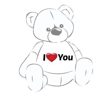 Giant Teddy Bear with I Heart You T-shirt