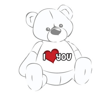 Giant Teddy Bear with I Love You Heart