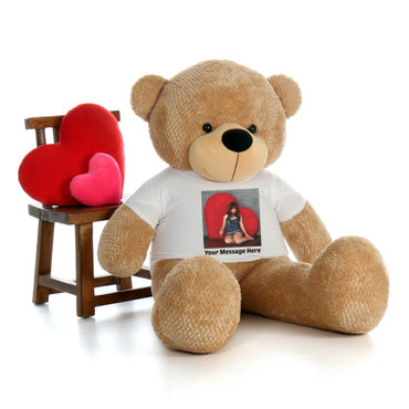5 Foot Super Soft Amber Brown Teddy Bear with your own uploaded photo on a t-shirt