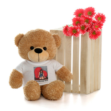 Adorable 2 Foot Amber Brown Teddy Bear with Custom Photo T-shirt