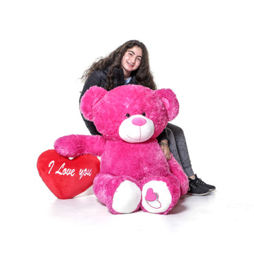 4 Foot Big Love Teddy Bear with Red Pillow Heart - Huge Stuffed Animal