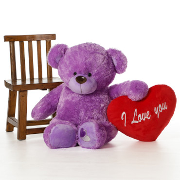 3 Foot Cute and Soft Purple Cuddly Teddy Bear