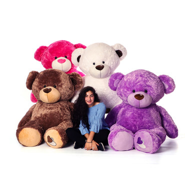 Giant Teddy Bears in a Variety of Colors! Purple, Brown, White, and Hot Pink!