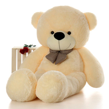 6ft Life Size Teddy Bear Cozy Cuddles with soft cream fur