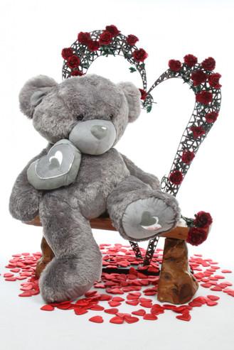 4ft Huge Silver Snuggle Pie Big Love Teddy Bear