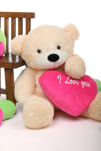 3ft Cozy Love Cuddles Cream Teddy Bear with Hot Pink I Love You Heart