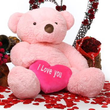 Gigi Love Chubs pink teddy bear with heart 55in