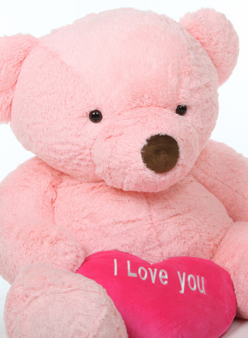 5ft Pink Teddy Bear Gigi Chubs with Hot Pink I Love You Heart