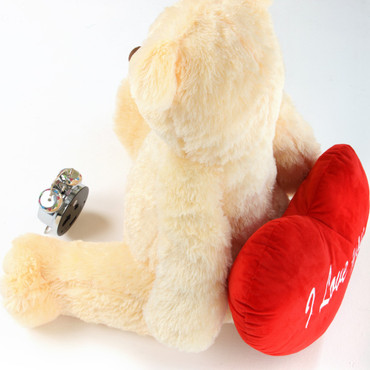 32in Cream Teddy Bear Tiny Heart Tubs Holding Red I Love You Heart