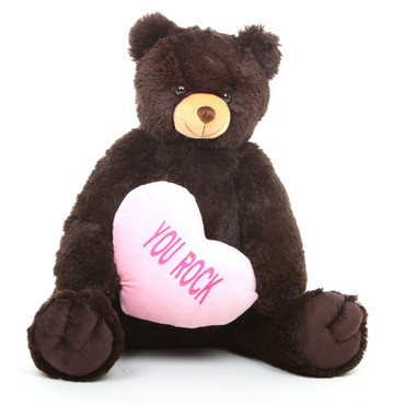 Chocolate Brown Teddy Bear with 'You Rock' Heart 32in
