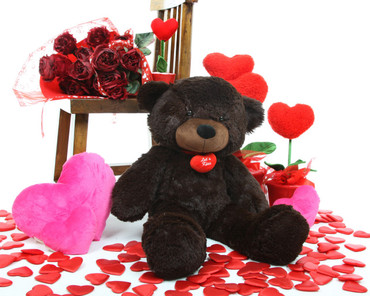 24in Brownie L Cuddles dark brown teddy bear with necklace
