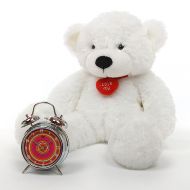 24in Coco L Cuddles white teddy bear with necklace