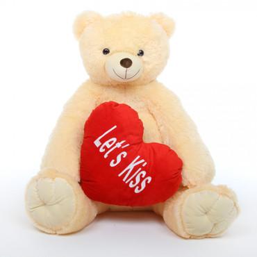 42in Tiny Heart Tubs cream teddy bear with heart