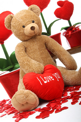 Huge Amber Honey Heart Tubs Teddy Bear with Red I Love You Heart