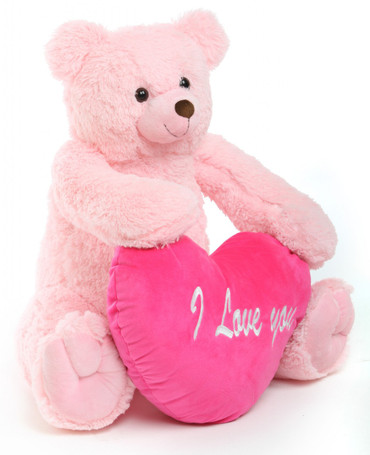 Pink 32in Teddy Bear Darling Tubs with hot pink heart