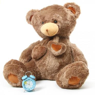 Cheaky Hugs Soft Mocha Brown Heart Teddy Bear 45in