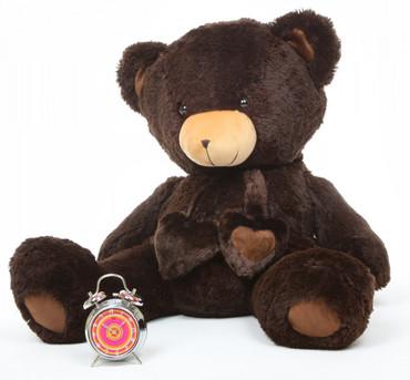 Big Papa Hugs Huggable Chocolate Brown Heart Teddy Bear 36in