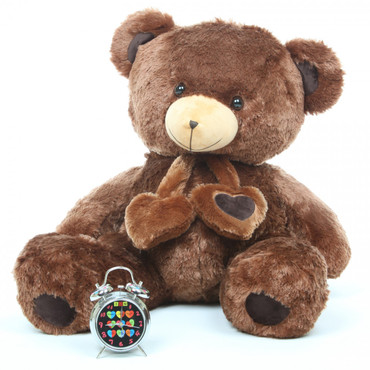 Lucky Hugs Big and Cuddly Chestnut Brown Heart Teddy Bear 36in