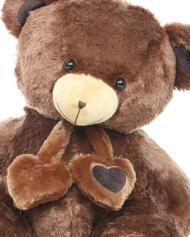 36in Lucky Hugs Big and Cuddly Chestnut Brown Heart Teddy Bear