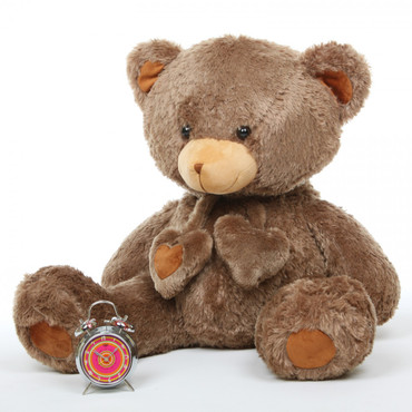 Cheeky Hugs Soft Mocha Brown Heart Teddy Bear 36in