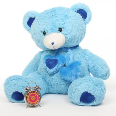 3ft Enormous Blue Shorty Hugs Teddy Bear