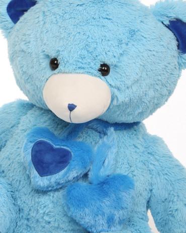 3 foot Shorty Hugs Blue Teddy Bear