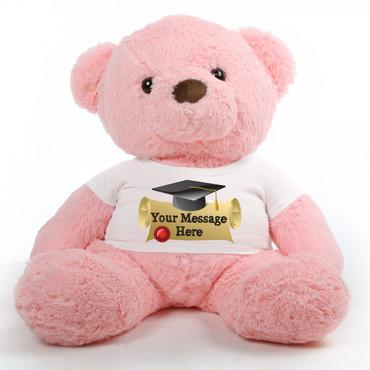 3ft Gigi Chubs Pink Personalized Graduation Teddy Bear