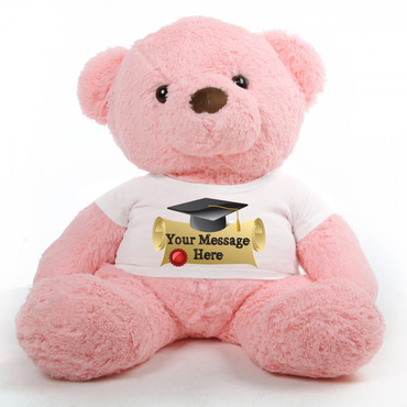 3ft Gigi Chubs Pink Personalized Graduation Teddy Bear