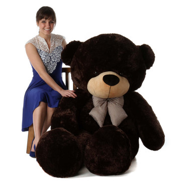 Tall dark handsome and cuddly 72in life size giant teddy bear Brownie Cuddles dark brown fur