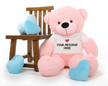 3ft Lady Cuddles Huggable Pink Teddy Bear