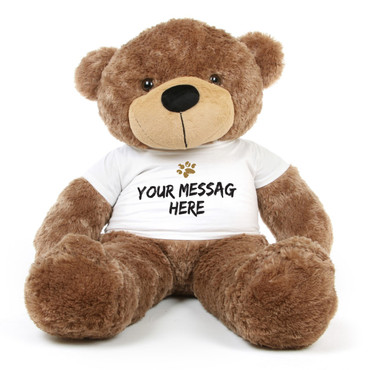48in Big Mocha Brown Sunny Cuddles 48 inch Personalized Teddy Bear with Paw Stamp T-shirt