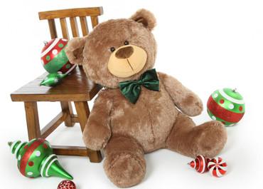 35in Tiny Shags Mocha Brown Teddy Bear with bowtie