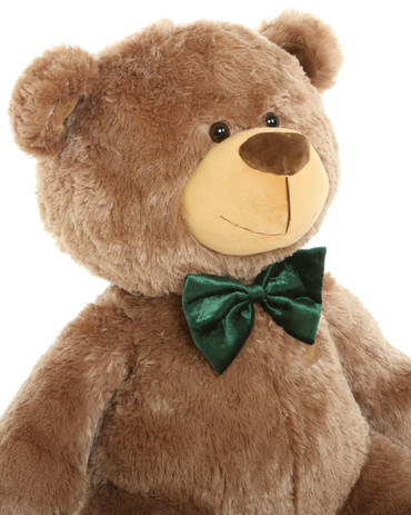 3ft Mocha Brown Teddy Bear with Green Bow tie