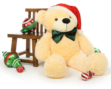 4ft Cream Vanilla Cozy Cuddles Holiday Teddy Bear