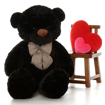 5ft Life Size Teddy Bear Juju Cuddles soft and huggable black fur