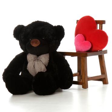 4ft Life Size Teddy Bear Juju Cuddles soft and huggable black fur