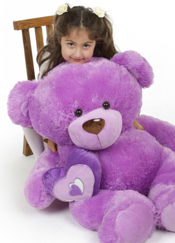 Sewsie Big Love lavender teddy bear 42in