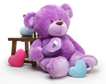 4ft Purple Extra Large Teddy Bear Sewsie Big Love