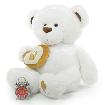 42in Chomps Big Love large white silver heart teddy bear