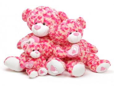 30in Sassy Big Love pink cream teddy bear
