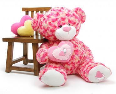 Giant Teddy 3½ ft Valentines Teddy Bear Sassy Big Love w/plush heart