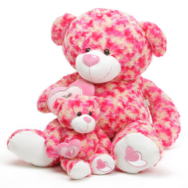 pink & cream teddy bear, Sassy Big Love 3 1/2 ft