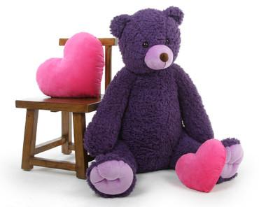 Plush Violet Woolly Tubs Big Purple Teddy Bear