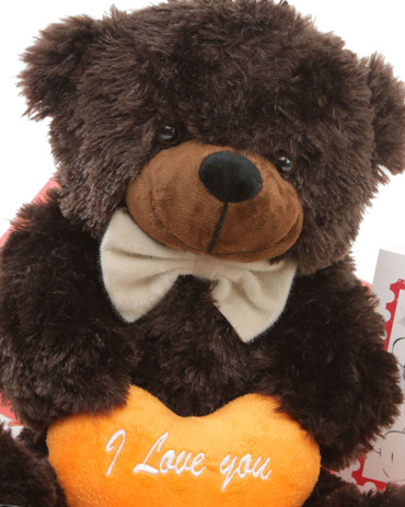 18in Brownie Cuddles Chocolate Brown Teddy Bear with I Love You heart