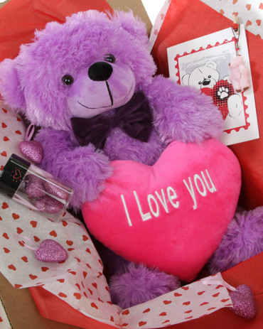 18in Purple DeeDee Cuddles with Hot Pink I Love You Heart