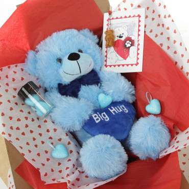18in Blue Happy Cuddles with Big Hug Blue Heart Package
