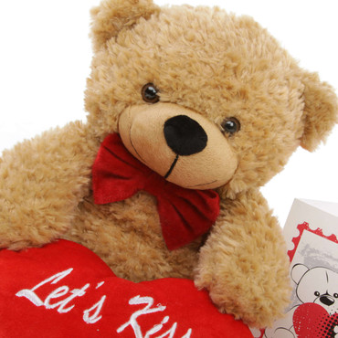 18in Amber Teddy Bear with Let's Kiss Red Heart Package